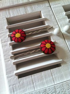 Bright Pink Flower Fabric Covered Button Bobby Pins
