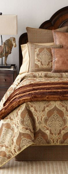 Shop Kamala Bedding from Dian Austin Couture Home at Horchow, where you'll find new lower shipping on hundreds of home furnishings and gifts. Western Bedding Sets, Rustic Bedding, Luxurious Bedrooms, Luxury Bedrooms, Luxury Cabin, Design Your Dream House, Beautiful Bedrooms, Home Decor Styles, Bed Design
