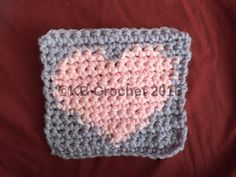 """""""This reversible square is perfect for hats, afghans, or totes. It is worked using bobbins so that there is no carrying the yarn or messy joins on either side. The design is great for Valentine's Day or could be done using red and white for National Heart Health month! The pattern contains the written instructions, a graph, and a video tutorial. The square looks beautiful with or without a border and could easily be done in any color combination."""""""