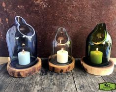 Tranquil Cut Wine Bottle Candle Art Holder 3 Piece Set ITEM# - Tranquil Wine/Liquor Bottle Candle Holder 3 Piece Set Item# Thank you for shopping at G - Wine Bottle Candle Holder, Wine Bottle Art, Diy Bottle, Candle Holders, Wine Art, Cutting Wine Bottles, Bottle Cutting, Glass Bottle Crafts, Glass Bottles