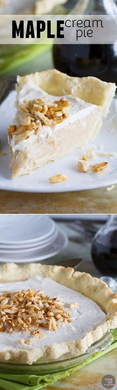 A creamy maple filling is topped with whipped cream and sugared almonds in this Maple Cream Pie Recipe that can easily be made without any refined sugar. It is sweet and silky and simply delicious.