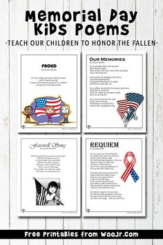8 printable Memorial Day kids poems to teach our children to honor the fallen. Letter H Worksheets, Sequencing Worksheets, Printable Math Worksheets, Teacher Worksheets, Kindergarten Worksheets, Worksheets For Kids, Activities For Kids, Holiday Activities, Free Printables