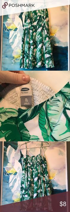 Old Navy • Palms Print A-Line Dress Worn a few times but in great condition.  Stretchy top and fun flowy bottom.  Flattering on many different shapes. Old Navy Dresses