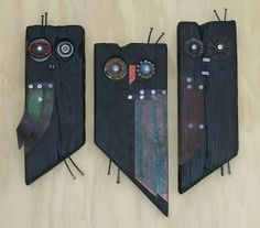 Greg Corman Sculpture and Functional Art: Abstract owls -- native bee nests