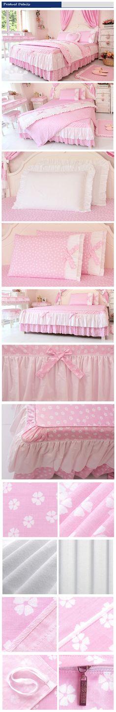 Light Pink Korean Ruffled Bedding Set Twin Full Queen Size Girls Princess Duvet Cover Set Romantic Bed Skirt Sets