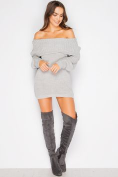 Syden Grey Bardot Knit Jumper Dress