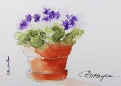Purple African Violets Watercolor Painting by RoseAnn Hayes, prints are available in Etsy shop, ACEO size