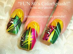 Nail-art by Robin Moses 80's colorful retro diva!