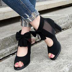 #AdoreWe #TideBuy - #TideBuy Suede Zipper Mesh Chunky Heel Womens Sandals - AdoreWe.com