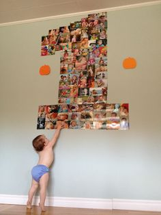 First birthday photo collage. I did this and it worked well. My 1 was taller and skinnier but it went down well with party guests and gave my older daughter something to talk about. The 1-year-old herself mainly tried to pull it down. Really enjoyed making it and having it up.