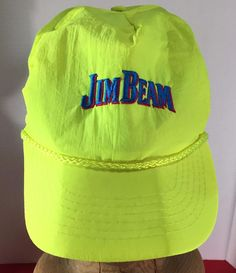 Jim Beam Neon Yellow Baseball Cap Hat Snapback Rope Detail Bourbon Liquor #JimBeam #BaseballCap