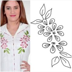 Camisa Embroidery Stitches Tutorial, Embroidery Flowers Pattern, Flower Embroidery Designs, Hand Embroidery Stitches, Embroidery Applique, Beaded Embroidery, Machine Embroidery Designs, Fabric Paint Designs, Embroidery Fashion
