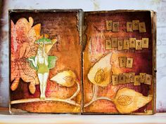 A Seriously STUNNING altered book by Natasha Serova for vlvstamps.com using #rubberstamps and 7 Dots studio #scrapbooking #patternedpaper