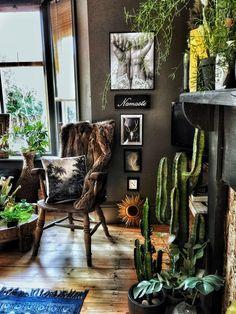 The Bohemian, Dark & Inviting Home of Nadia Martini – The Interior Editor – Interiors Dark Bohemian, Bohemian Room, Boho Living Room, Bohemian Style, Living Rooms, Bohemian Bedrooms, Eclectic Bedrooms, Attic Bedrooms, Bohemian Living