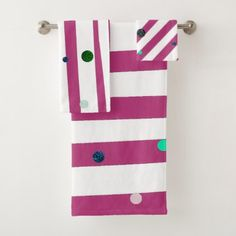 Elegant Hot Pink Stripes with Glitter Polka Dots Bath Towel Set - girly gifts girls gift ideas unique special