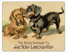 Doxies in Love Personalized Vintage Bookplate Labels. $15 for set of 18 bookplates.