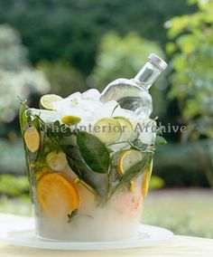 A homemade ice bucket made with slices of citrus fruits and leaves frozen into it