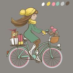Girl riding a bicycle with bunny and gifts on Behance, Olya Lunter