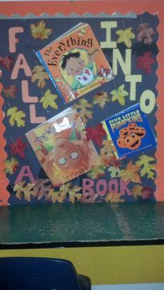 Fall into a book - preschool pre-K bulletin board