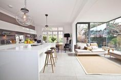 Modern Living Room Kitchen - 49 Awesome Open Kitchen Designs With Living Room. Open Plan Kitchen Diner, Open Plan Kitchen Living Room, Kitchen Design Open, Kitchen Dining Living, Open Plan Living, Open Kitchen, Living Room Modern, Living Room Designs, Living Room Decor