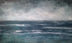 Large Abstract Seascape Ocean Beach Painting  by JenniferStatenArt, $365.00