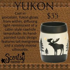 Yukon Scentsy Warmer PREMIUM Cast in porcelain, Yukon glows from within, diffusing light reminiscent of a cabin-style rawhide lampshade. Its hand-painted rustic design features tall evergreens and a stately moose silhouette. https://gretajansen.scentsy.us/Buy/ProductDetails/DSW-YUKO