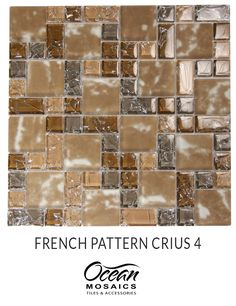 Brown kitchen backsplash ideas using French Pattern Crius 4 mosaic glass  tile | tones of brown