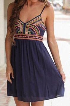 Navy Blue Geometric Condole Belt Embroidery V-neck Chiffon Mini Dress - Mini Dresses - Dresses