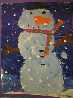 In Art class, first graders read the book, Dream Snow by Eric Carle. Students created art like Carle by painting snow over their snowmen on a transparency like Carle did in his book. Students learned how Carle creates his art and also learned the difference between authors and illustrators.