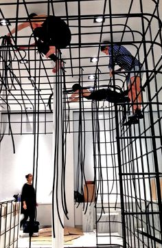 the winning Fashion Night Out cage installation design at NYC flagship