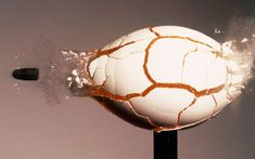 Ultra-fast (1ms) photograph of a .22 bullet impacting an egg. Dr Gary Settles documented the impact of bullets on objects ranging from drinks cans to playing cards in his lab in the Eighties