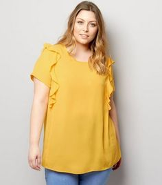 Curves Yellow Frill Shoulder Top