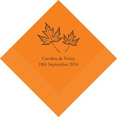 Personalized wedding napkins with fall theme