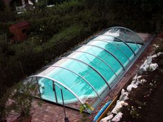 retractable swimming pool enclosure UNIVERSE extended swimming season from spring time to autumn Swimming Pool Enclosures, Patio Enclosures, Swimming Pools, Pool Ideas, Spring Time, Outdoor Gear, Tent, Autumn, Lifestyle