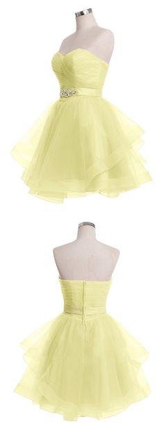 2016 homecoming dress, short homecoming dress, yellow homecoming dress…