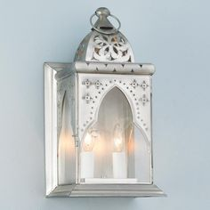 Moroccan Arch Wall Lantern Sconce Moroccan arch, whimsical piercings and 2 candle lights add up to electric eclectic! Worn silver finish and clear glass. Outdoor Wall Sconce, Outdoor Walls, Outdoor Lighting, Beach House Lighting, Moroccan Lighting, Moroccan Design, Candle Wall Sconces, Wall Lantern, Sconce Lighting