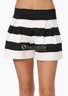 Black White Striped Straight Shorts - Sheinside.com