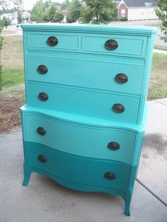 Antique dresser painted with ombre effect by Design Intervention