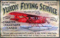 yukon vintage airplane wood sign.