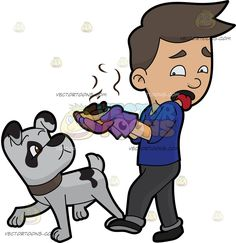 A Disgusted Man Throwing Away A Pile Of Dog Poo :  A man with brown hair wearing a blue shirt dark gray pants black shoes purple gloves turns his head back in disgust while carrying a batch of stinky brown poop from his light gray dog with black spots and dark beige collar  The post A Disgusted Man Throwing Away A Pile Of Dog Poo appeared first on VectorToons.com.
