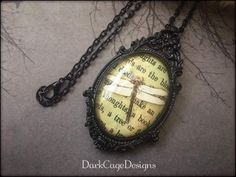 Charming Antiqued Victorian/ Gothic/ Dark Mori/ Dragonfly Cameo Necklace by DarkCageDesigns on Etsy