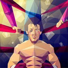 ilustración poligonal rocky balboa por Liam Brazier