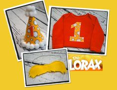 Lorax Theme First  Birthday Party Outfit Onesie Pants Hat and Mustache. $58.00, via Etsy.