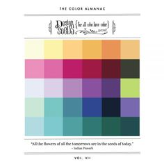 """Bring your inspiration offline, tack it to your studio wall, or carry it with you wherever you go. The Color Almanac is a """"digital zine"""" featuring popular inspiration from the Design Seeds site. Fifty inspiration palettes are included, and HEX codes are provided for all colors. Volume VIIIalsoincludes features on #SeedsColor collaborators."""