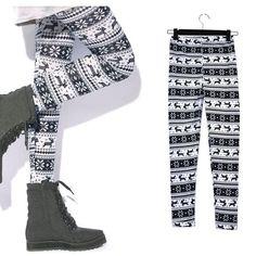 New Fashion Womens Lady Snowflakes Leggings Tights Pants