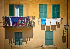 Clothes Drying Outside a Balcony - Siena, Tuscany