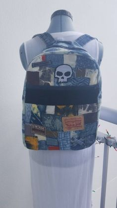695b133f53ca Denim and corduroy backpack skull Levi's vintage patches tie dye denim  custom bleach One of a kind bag