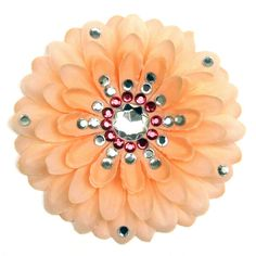 Peach Penny Blossom Sparkly Flower Barrette by BrightCopperPenny, $7.50