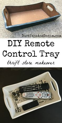DIY Remote Control Tray, more thrift store makeovers on DuctTapeAndDenim.com