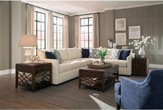 Trisha Yearwood Home Collection by Klaussner Atlanta Transitional Sectional Sofa with Tuxedo Arms - Olinde's Furniture - Sofa Sectional Living Room Without Sofa, Living Room Sofa, Home Living Room, Living Room Designs, Living Room Furniture, Home Furniture, Living Room Decor, Furniture Online, Transitional Sectional Sofas